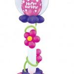 2m hoch mit Blumen und Bobenbasis in Wildberry /Violet/ weiss/ Klar
