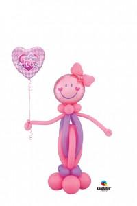 1,40m hohe Mädchenskulptur der Kopf ist ein Folienballon Sie hält ein Folienherz mit der Aufschrift Princess in der Hand